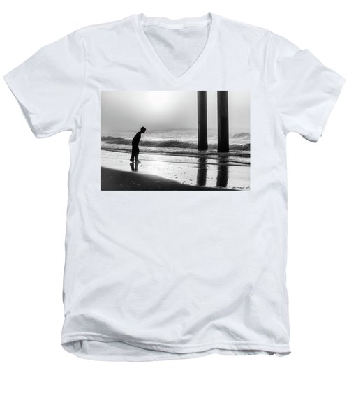 Men's V-Neck T-Shirt featuring the photograph Sunrise Boy In Foggy Beach by John McGraw
