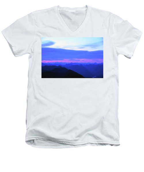 Sunrise From Pilchuck Summit Men's V-Neck T-Shirt