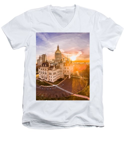 Sunrise In Hartford Connecticut Men's V-Neck T-Shirt by Petr Hejl