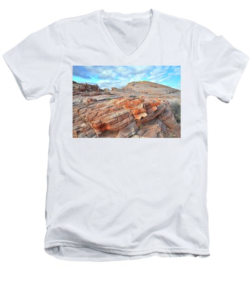 Sunrise On Sandstone In Valley Of Fire Men's V-Neck T-Shirt by Ray Mathis