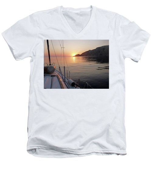Men's V-Neck T-Shirt featuring the photograph Sunrise On The Aegean by Christin Brodie