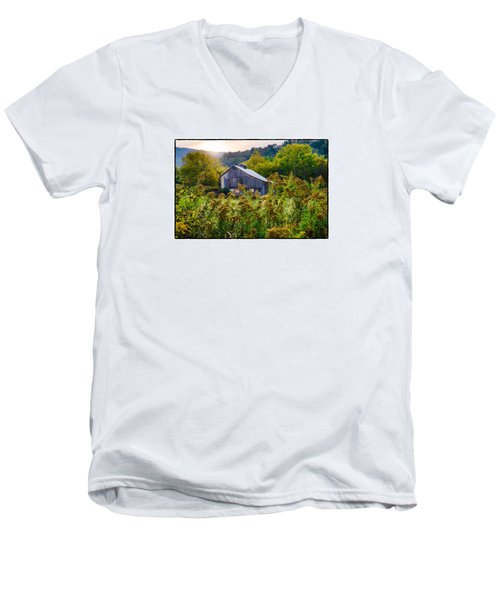 Men's V-Neck T-Shirt featuring the photograph Sunrise On The Farm by R Thomas Berner