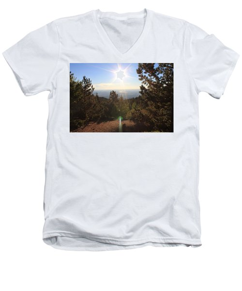 Men's V-Neck T-Shirt featuring the photograph Sunrise Over Colorado Springs by Christin Brodie