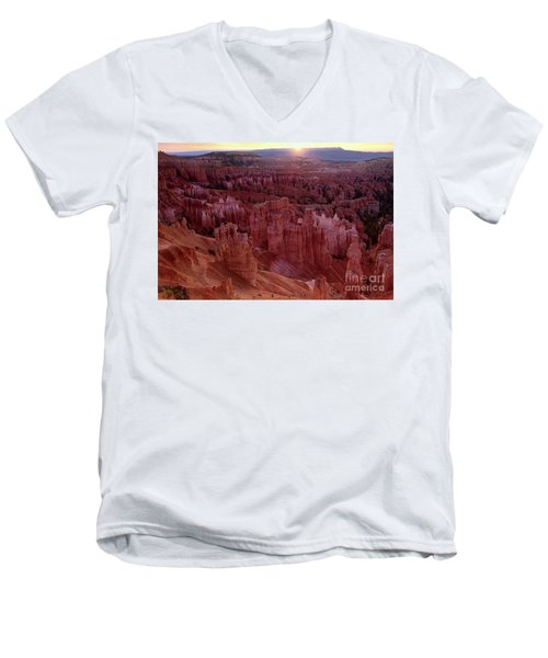 Sunrise Over The Hoodoos Bryce Canyon National Park Men's V-Neck T-Shirt by Dave Welling
