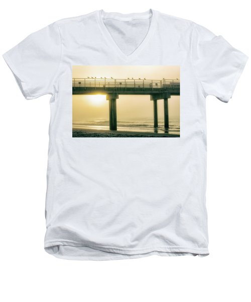 Men's V-Neck T-Shirt featuring the photograph Sunrise Pier In Alabama  by John McGraw
