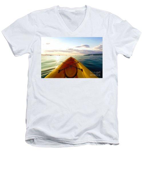 Sunrise Seascape Kayak Adventure Men's V-Neck T-Shirt