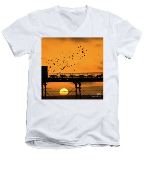 Sunset And Starlings In Aberystwyth Wales Men's V-Neck T-Shirt
