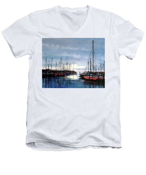 Men's V-Neck T-Shirt featuring the painting Sunset At Apollo Beach by Janet King