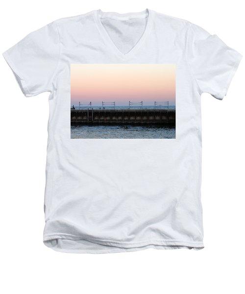 Sunset At Diversey Harbor Men's V-Neck T-Shirt