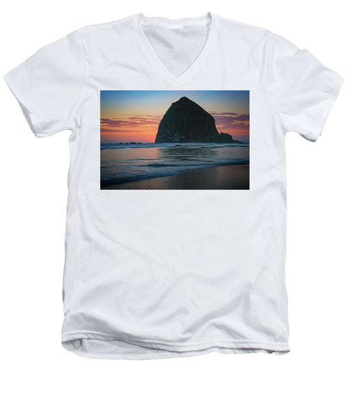 Men's V-Neck T-Shirt featuring the photograph Sunset At Haystack Rock by Rick Berk