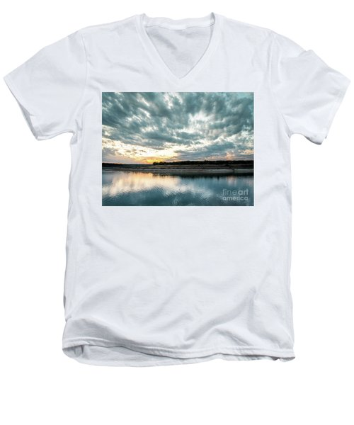 Sunset Behind Small Hill With Storm Clouds In The Sky Men's V-Neck T-Shirt