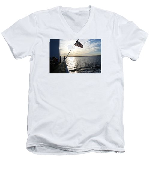 Men's V-Neck T-Shirt featuring the photograph Sunset Cruise by Margie Avellino