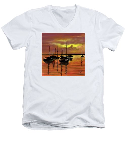 Sunset Men's V-Neck T-Shirt by Darren Cannell