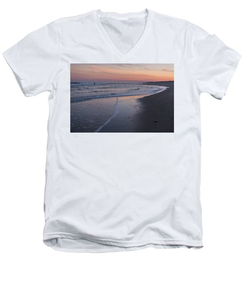 Men's V-Neck T-Shirt featuring the photograph Sunset Fishing Seaside Park Nj by Terry DeLuco