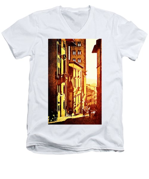 Sunset In Arezzo Men's V-Neck T-Shirt by Andrea Barbieri