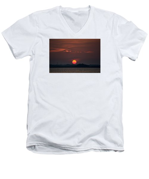 Sunset In Biloxi 2 Men's V-Neck T-Shirt by Cathy Jourdan