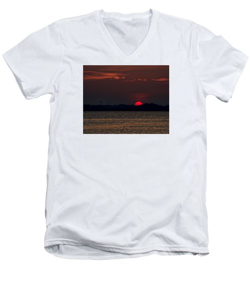 Sunset In Biloxi 3 Men's V-Neck T-Shirt by Cathy Jourdan