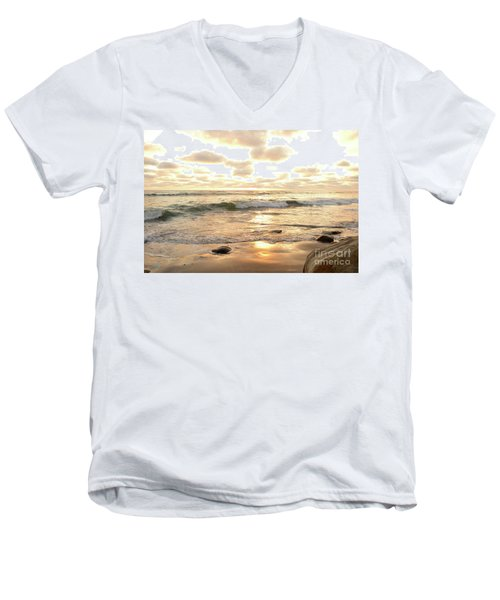 Sunset In Golden Tones Torrey Pines Natural Preserves #2 Men's V-Neck T-Shirt by Heather Kirk