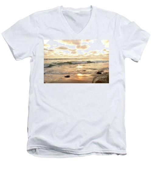 Sunset In Golden Tones Torrey Pines Natural Preserves #2 Men's V-Neck T-Shirt