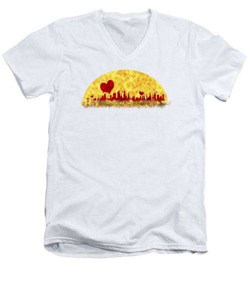 Sunset In The City Of Love Men's V-Neck T-Shirt by Anton Kalinichev