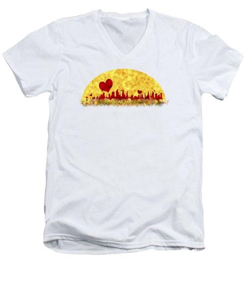Sunset In The City Of Love Men's V-Neck T-Shirt