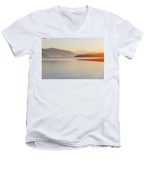 Sunset In The Mist Men's V-Neck T-Shirt by Victor K