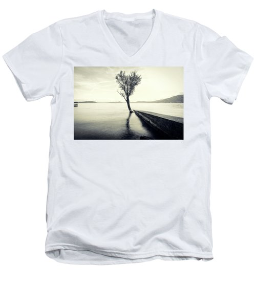 Sunset Landscape With A Tree In The Background Immersed In The L Men's V-Neck T-Shirt