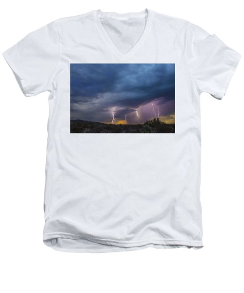 Men's V-Neck T-Shirt featuring the tapestry - textile Sunset Lightning by Kathy Adams Clark