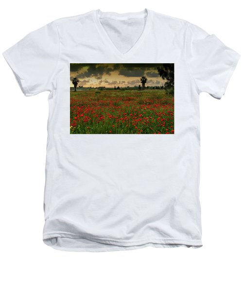 Sunset On A Poppies Field Men's V-Neck T-Shirt