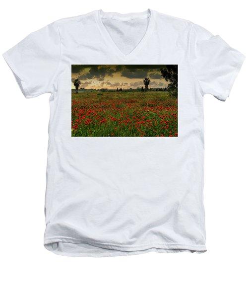 Sunset On A Poppies Field Men's V-Neck T-Shirt