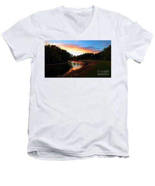 Sunset On Saco River Men's V-Neck T-Shirt
