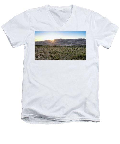 Sunset On The Dunes Men's V-Neck T-Shirt by Monte Stevens