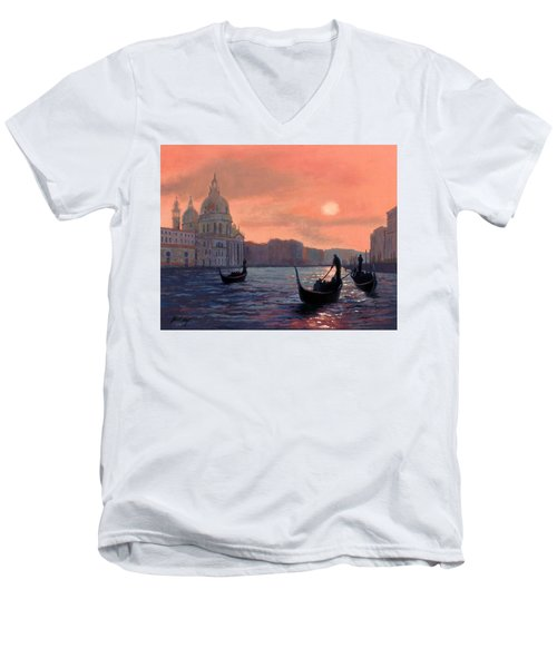 Men's V-Neck T-Shirt featuring the painting Sunset On The Grand Canal In Venice by Janet King