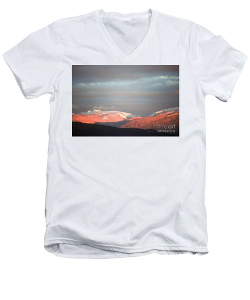 Men's V-Neck T-Shirt featuring the photograph Sunset On The Monashees by Victor K