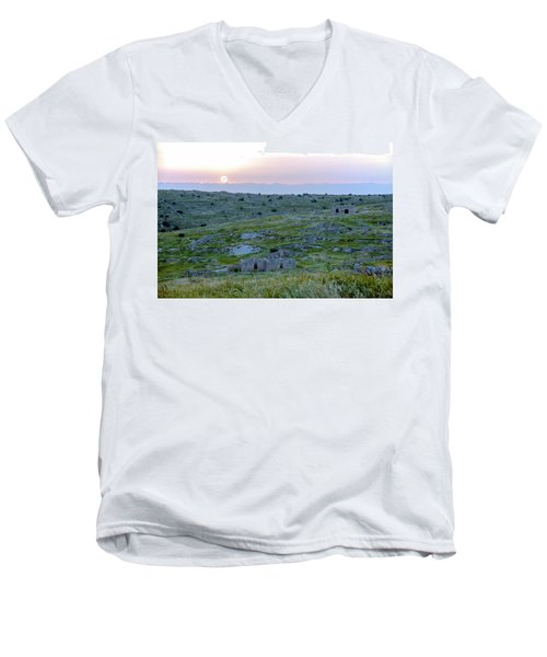 Sunset Over A 2000 Years Old Village Men's V-Neck T-Shirt by Dubi Roman