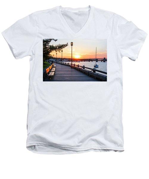 Sunset Over Newburyport Ma Merrimack River Newburyport Turnpike Men's V-Neck T-Shirt