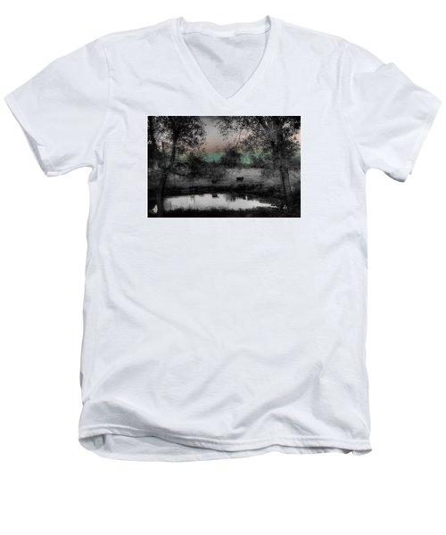 Sunset Over The Pond Men's V-Neck T-Shirt