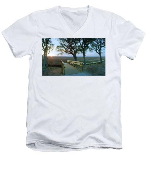 Sunset Over The Sound Men's V-Neck T-Shirt by Jan W Faul