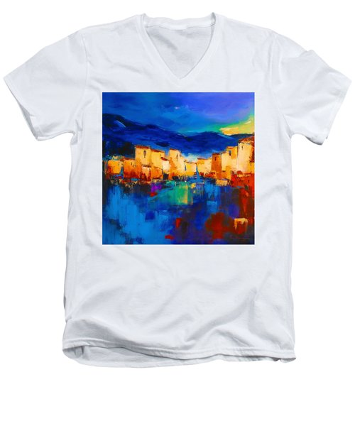 Sunset Over The Village Men's V-Neck T-Shirt