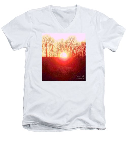Men's V-Neck T-Shirt featuring the photograph Sunset Red Yellow by Shirley Moravec