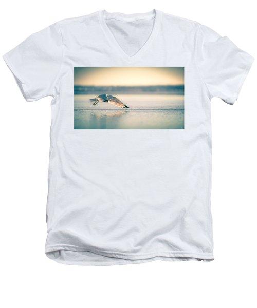 Sunset Seagull Takeoffs Men's V-Neck T-Shirt