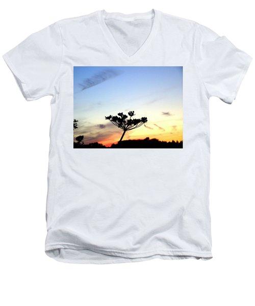 Sunset Seedhead Silhouette  Men's V-Neck T-Shirt