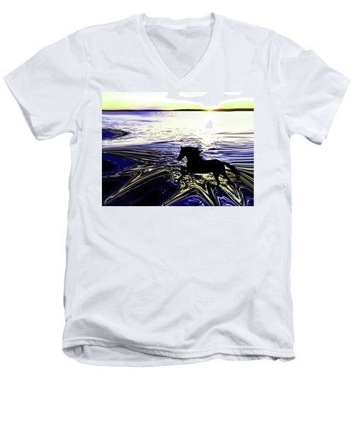 Sunset Splash At Edmonds Washington Men's V-Neck T-Shirt