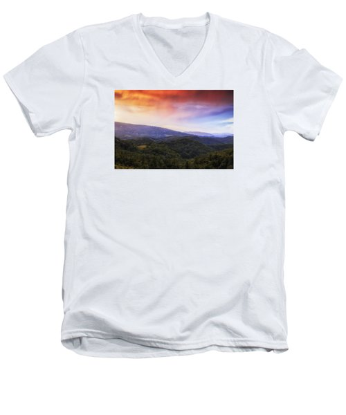 Men's V-Neck T-Shirt featuring the photograph Sunset View Of The Blue Ridge by Andrew Soundarajan