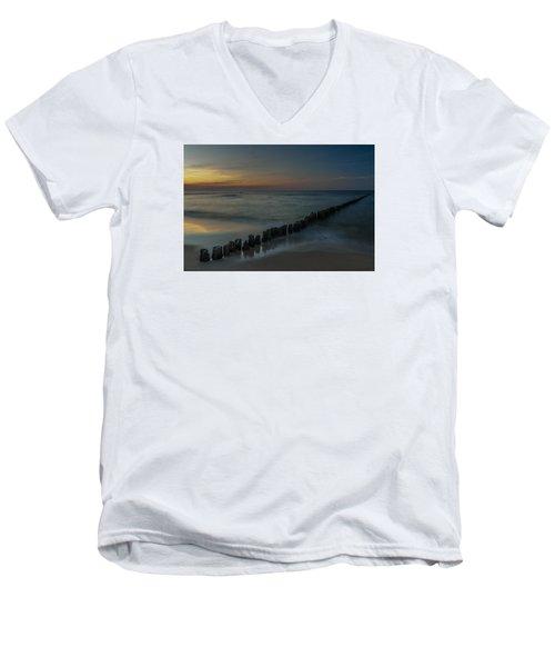 Men's V-Neck T-Shirt featuring the photograph Sunset Zen Mood Seascape by Julis Simo
