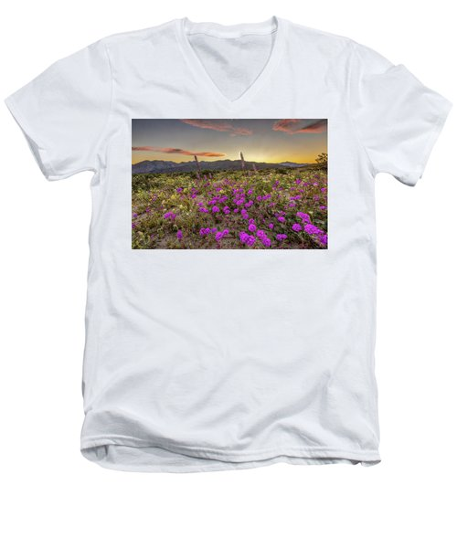 Men's V-Neck T-Shirt featuring the photograph Super Bloom Sunset by Peter Tellone