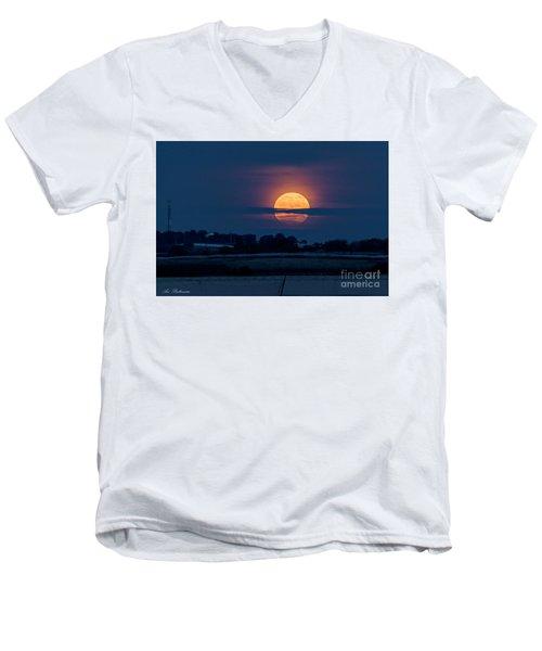 Super Moon Men's V-Neck T-Shirt by Arik Baltinester