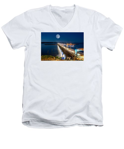 Men's V-Neck T-Shirt featuring the photograph Super Moon Over White Rock by Sabine Edrissi