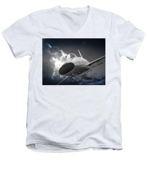 Super Sabre Rolling In On The Target Men's V-Neck T-Shirt