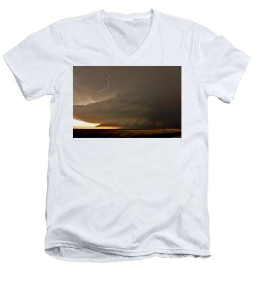 Supercell In Kansas Men's V-Neck T-Shirt by Ed Sweeney